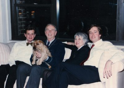 With brother Robert, Alfie (the pup), Dad, Mom and me